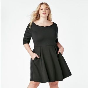 JustFab scalloped black dress with pickets